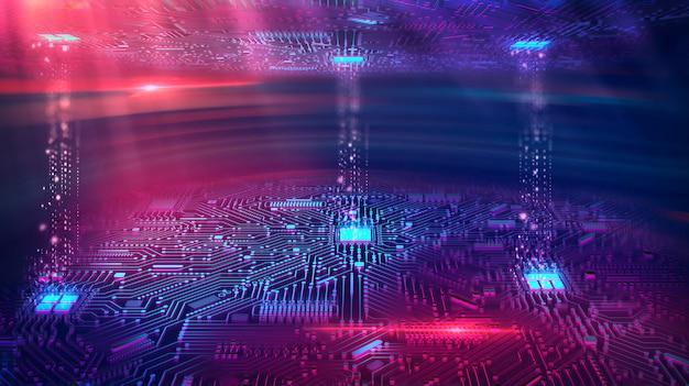 Gegevensoverdrachtskanaal. overdracht van big data. beweging van digitale gegevensstroom.