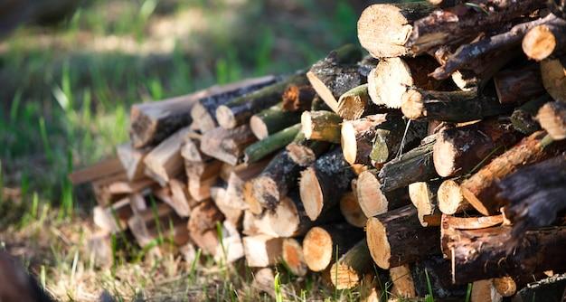 Gehakt en gezaagd brandhout op het gras met de schittering van de zon. dorpsleven, zomer, cottage-kern, milieuvriendelijk