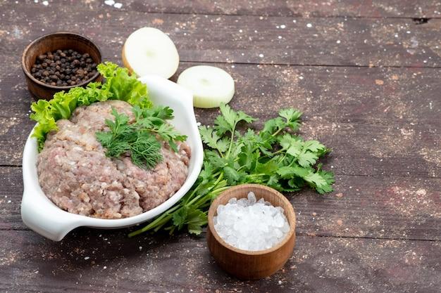 Gehakt rauw vlees met greens binnen plaat met uien zout op bruin