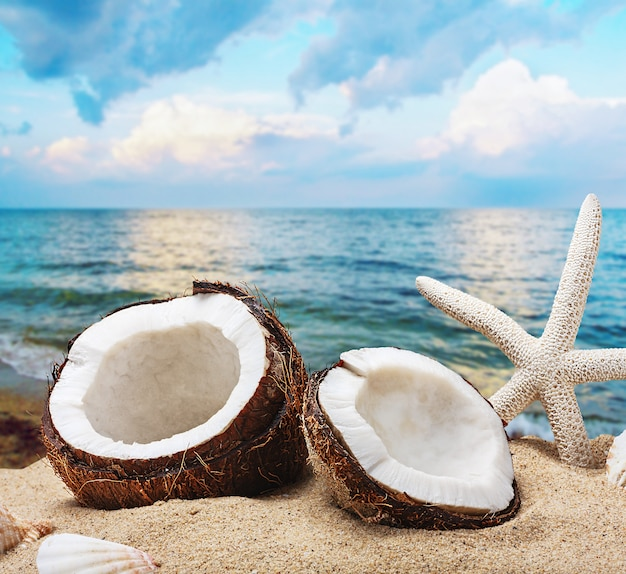 Gehakte kokosnoot op zee-strand