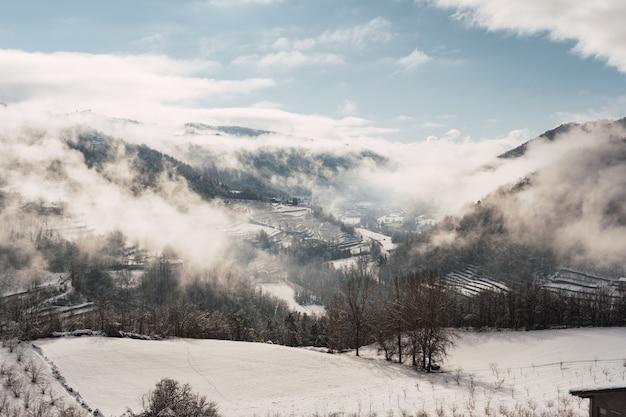 Geheel wit landschap bedekt met sneeuw en mist in noord-italië. Premium Foto