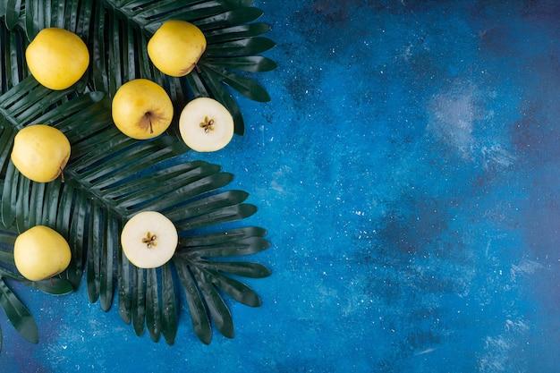 Gehele en gesneden verse gele appels op groen blad.