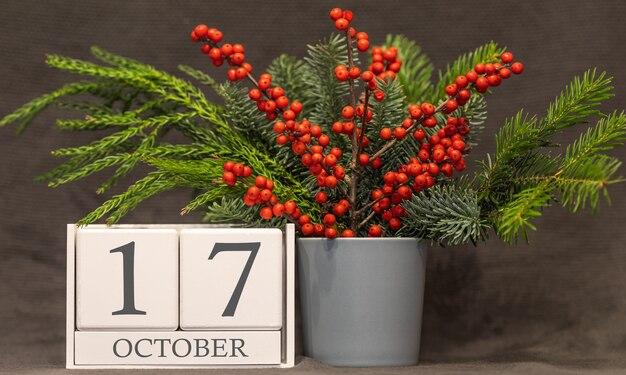 Geheugen en belangrijke datum 17 oktober, bureaukalender - herfstseizoen.