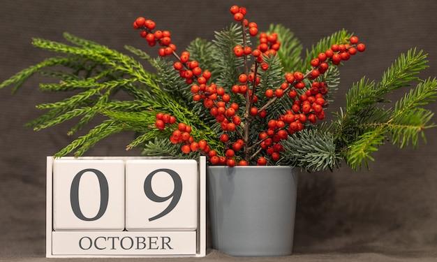 Geheugen en belangrijke datum 9 oktober bureaukalender - herfstseizoen.