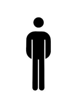 Geïllustreerde afbeelding van een man of een man op een afgelegen witte achtergrond. illustratie zwart-wit