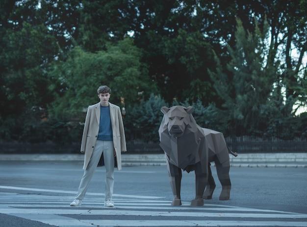 Geïllustreerde mens met 3d leeuw