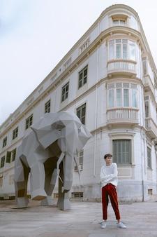 Geïllustreerde mens met 3d olifant