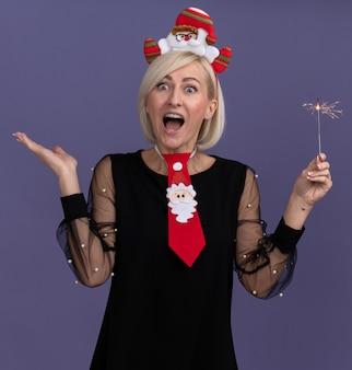Geïmponeerde blonde vrouw van middelbare leeftijd die de hoofdband van de kerstman en stropdas draagt die vakantie sterretje houdt die camera bekijkt die lege hand toont die op purpere achtergrond wordt geïsoleerd