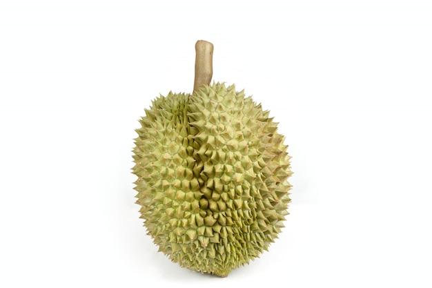 Geïsoleerd durian-fruit op witte achtergrond, koning van fruit in zuidoostaziatisch thailand