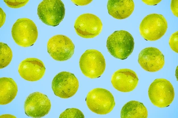Geïsoleerd groen limoenpatroon of behang op lichtblauwe achtergrond. zomer concept van verse rijpe hele limoen fruit geschoten van bovenaf