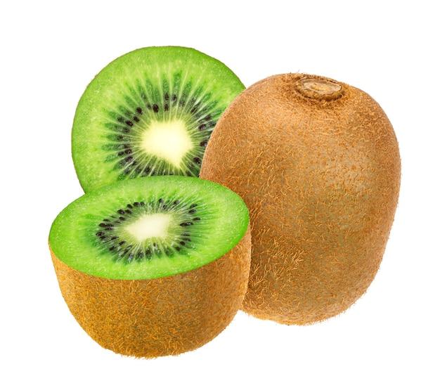 Geïsoleerd kiwifruit, gehele en besnoeiingskiwi die op wit met het knippen van weg wordt geïsoleerd.