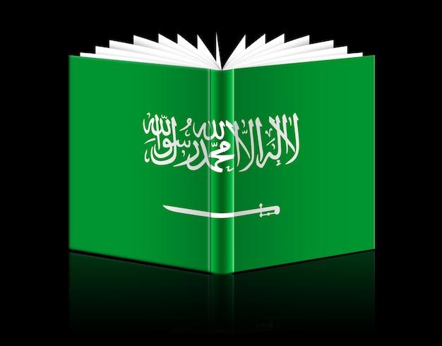 Geïsoleerd open boek met de afbeelding van de vlag van saoedi-arabië