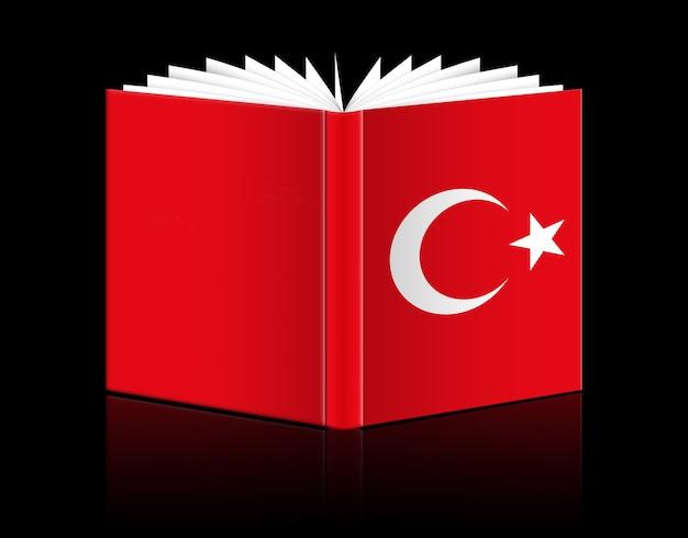 Geïsoleerd open boek met de afbeelding van de vlag van turkije