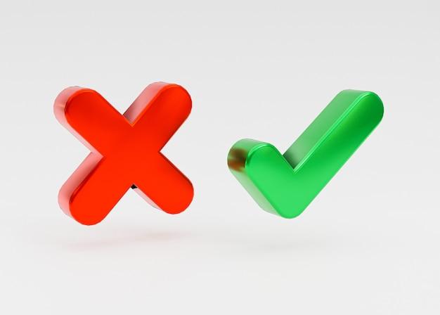 Geïsoleerd van goed en kwaad pictogram binnen zeepbel bericht op witte achtergrond van groen vinkje en kruisteken door 3d-rendering.