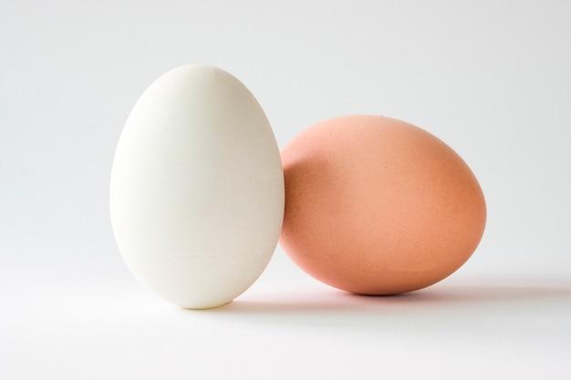 Geïsoleerd van kippenei en eendei op witte achtergrond