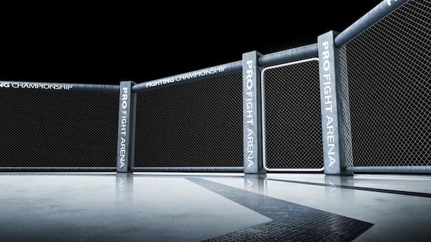 Geïsoleerd. zijaanzicht van de scène onder verlichting. vechtkampioenschap. vecht tegen de nacht. mma achthoek. 3d-weergave. sport