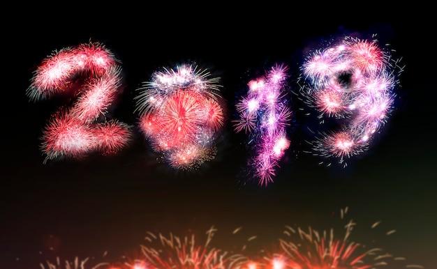 Geïsoleerde 2019 geschreven met donkere achtergrond, gelukkig nieuwjaar.