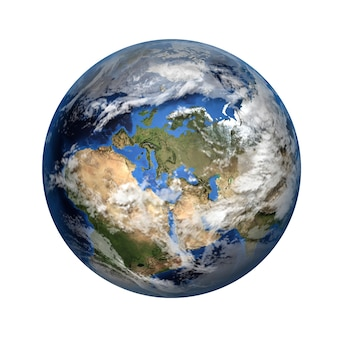 Geïsoleerde 3d-afbeelding van de planeet aarde. uitzicht op europa en afrika.