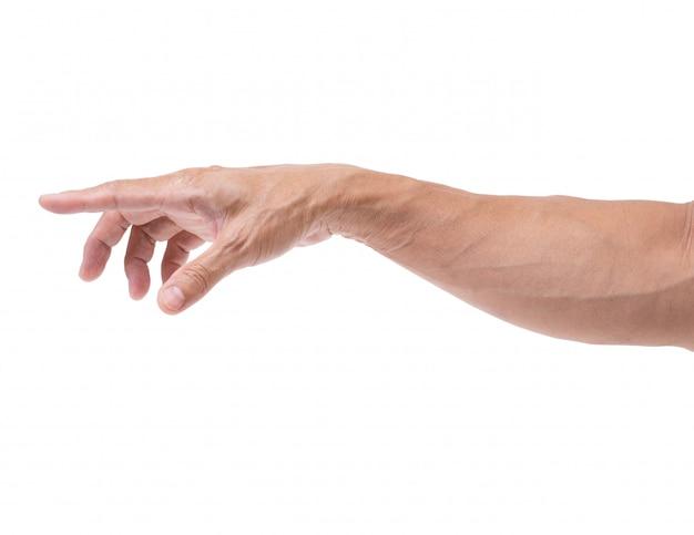 Geïsoleerde arm en hand wijzen