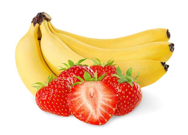 Geïsoleerde bananen en aardbeien