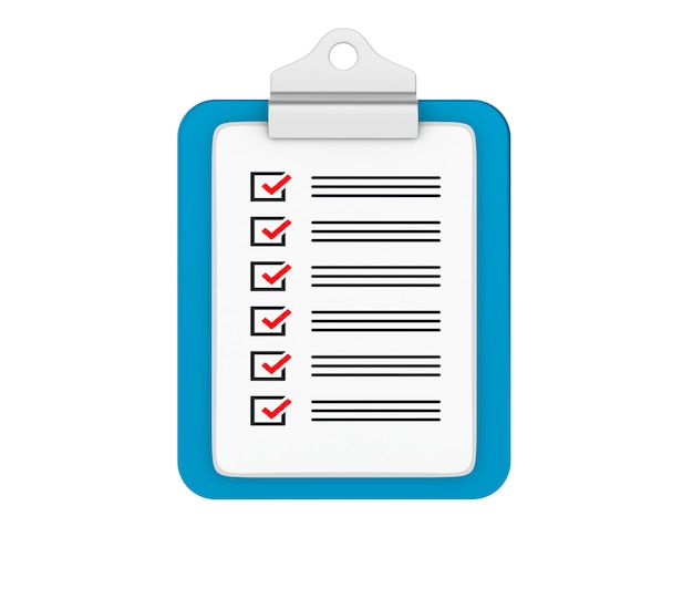 Geïsoleerde checklist klembord