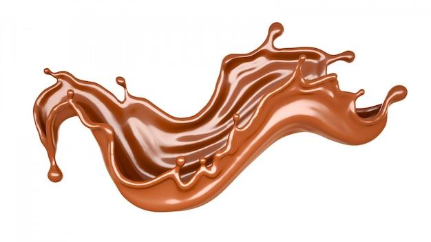 Geïsoleerde chocoladeplons op een witte achtergrond. 3d-weergave.