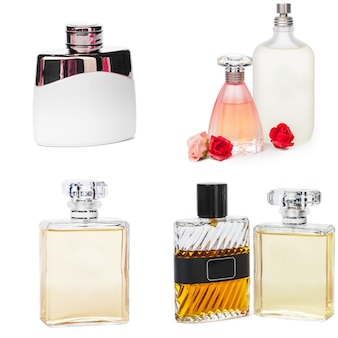Geïsoleerde collage van luxeparfums