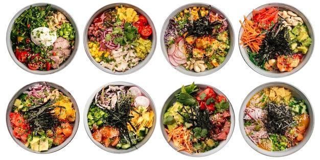 Geïsoleerde geassorteerde verscheidenheid van hawaiiaanse poke bowls menu-ontwerpcollage