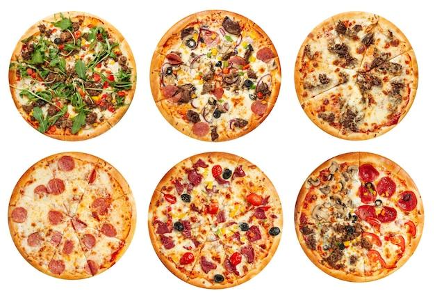 Geïsoleerde geassorteerde verscheidenheid van het menuontwerp van de pizzacollage op de witte achtergrond