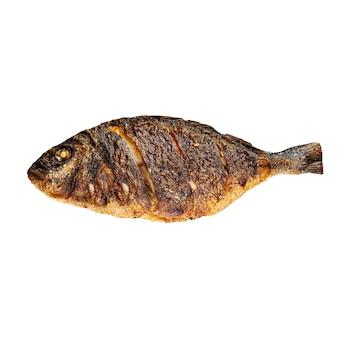 Geïsoleerde gegrilde dorada vis op het wit
