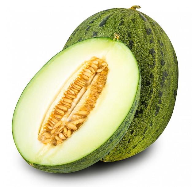 Geïsoleerde groep groene meloenen