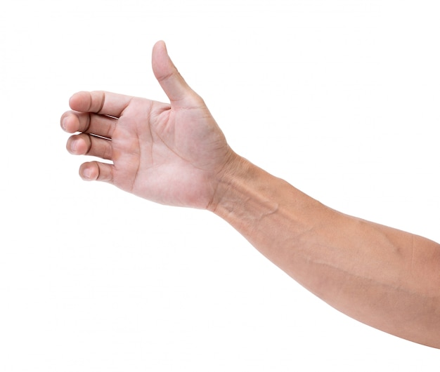 Geïsoleerde hand grijpen