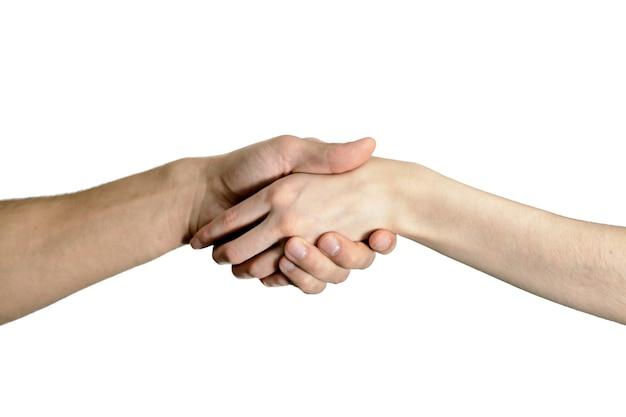 Geïsoleerde handdruk mannen en vrouwen, het concept toestemming, hulp, overeenkomsten