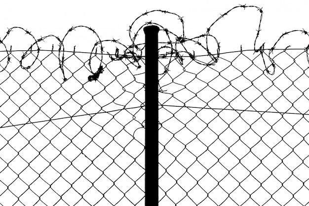 Geïsoleerde hek met prikkeldraad