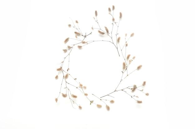 Geïsoleerde herfst frame van planten met plaats voor uw tekst op witte achtergrond. vallen plat leggen, bovenaanzicht creatief object.