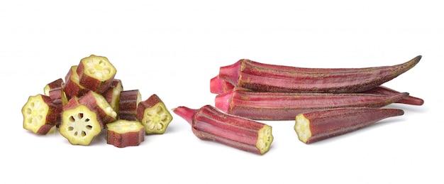 Geïsoleerde hibiscussabdariffa of roselle vruchten