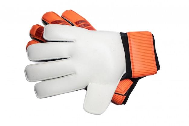 Geïsoleerde keeperhandschoen op witte achtergrond