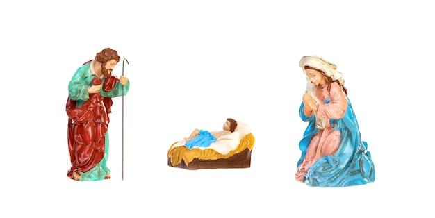 Geïsoleerde kerststal; jezus christus, maria en josef