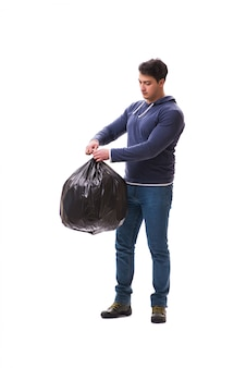 Geïsoleerde mens met vuilniszak