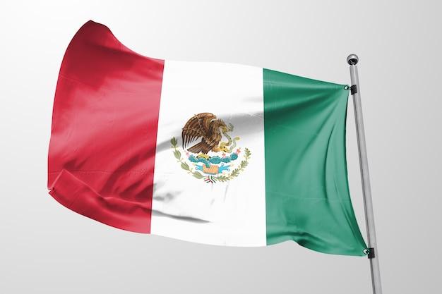 Geïsoleerde mexicaanse vlag zwaaien 3d realistische mexicaanse vlag weergegeven