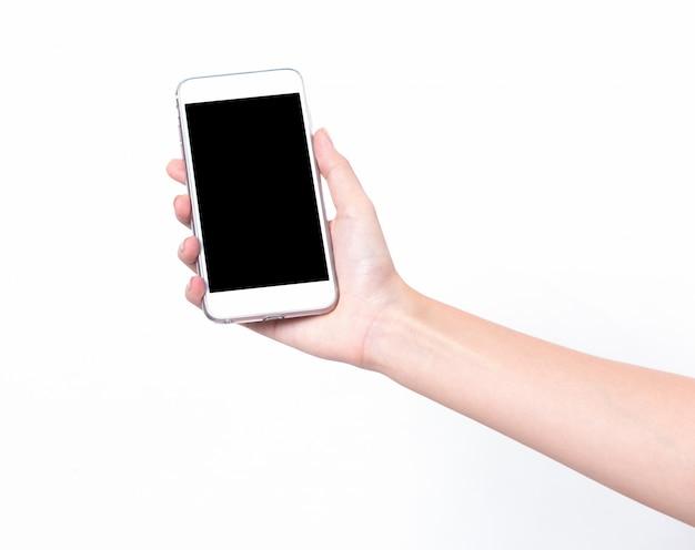 Geïsoleerde mobiele telefoons in vrouwenhand