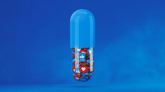 Geïsoleerde pillencapsule met als concept op blauw