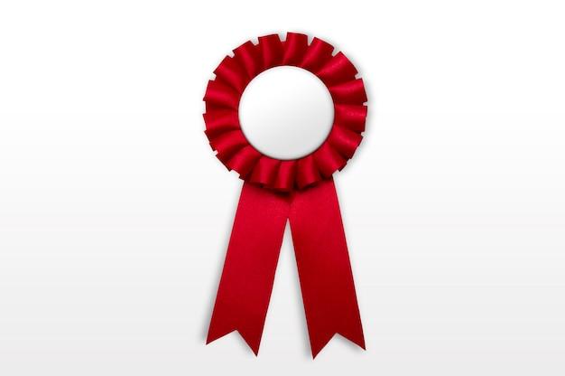 Geïsoleerde rode badge met lint