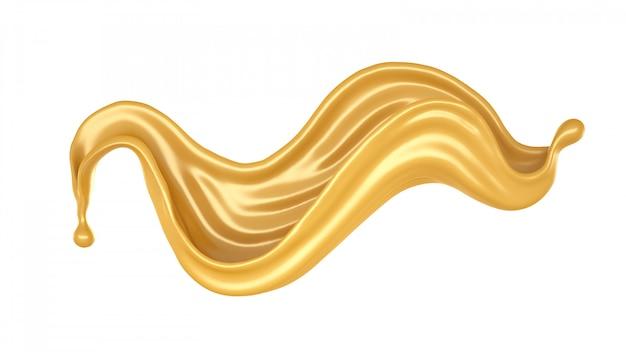 Geïsoleerde splash van karamel op een witte achtergrond. 3d-weergave.