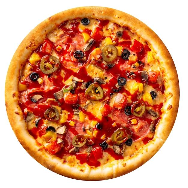 Geïsoleerde vers gebakken jalapeno pizza op de witte achtergrond