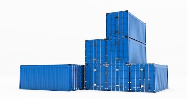 Geïsoleerde vrachtcontainer die op witte achtergrond wordt geïsoleerd. containersdoos van vrachtvrachtschip voor import en export, 3d-weergave