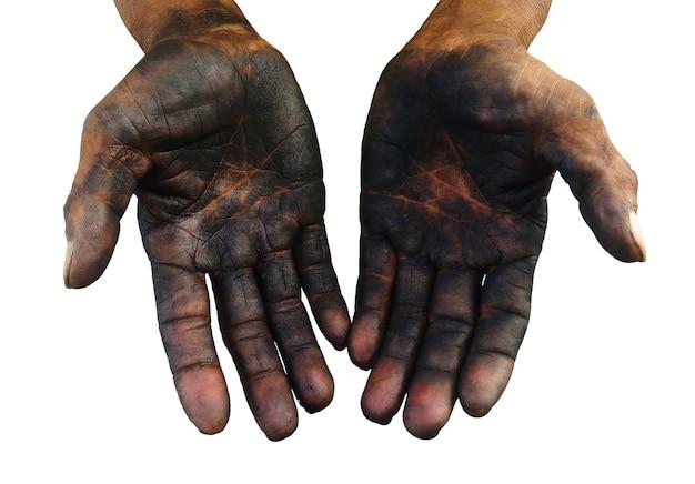 Geïsoleerde vuile hand van arbeider na het werk hard lang op wit