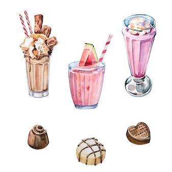 Geïsoleerde waterverf met de hand geschilderde milkshakea en zoete suikergoedillustraties. coctails aquarel clipart set. sweets ontwerpelementen.