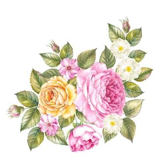 Geïsoleerde waterverfillustratie van roze bloem