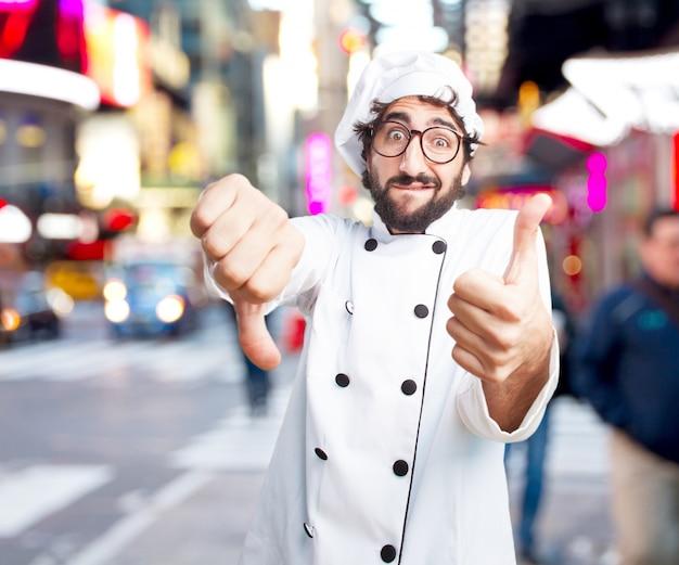 Gek chef bezorgd expressie